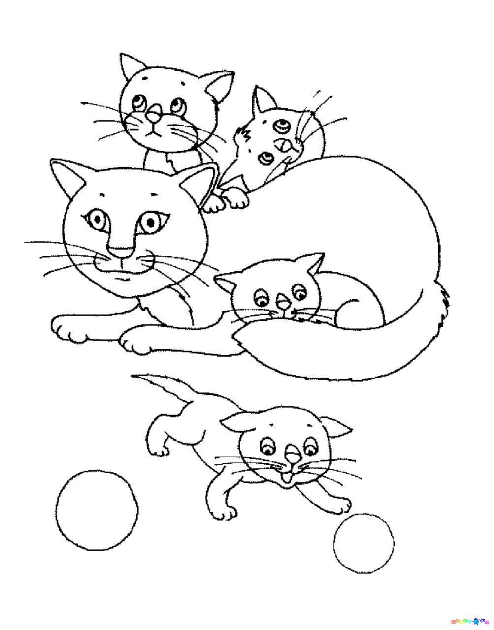 рисунок кошки карандашом для детей распечатать раскрашиваем